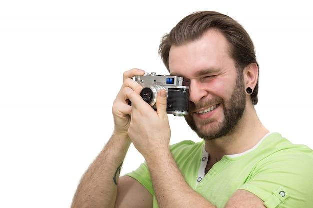 Homem, com, um, câmera