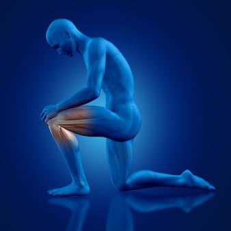 Homem com um joelho no chão