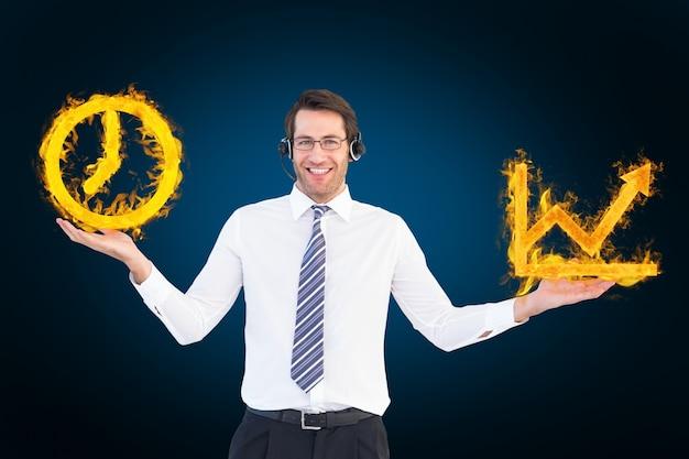 Homem com um relógio e um fogo gráfico