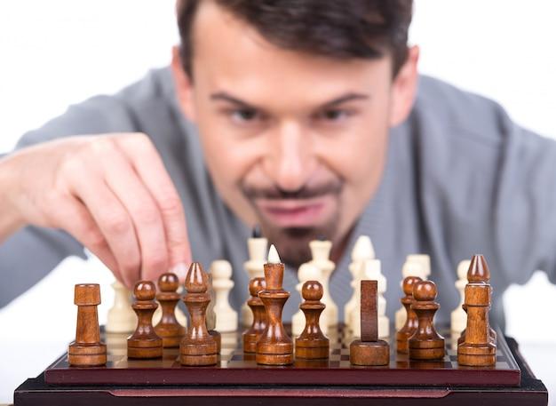 Homem, com, um, xadrez