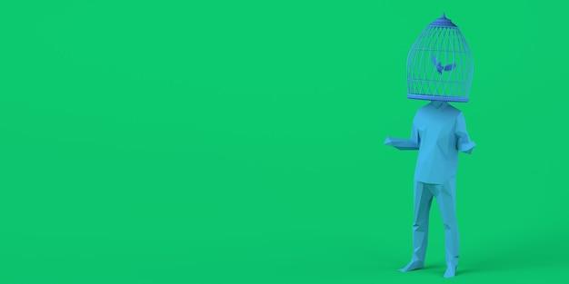 Homem com uma gaiola em vez de uma cabeça com um pássaro dentro conceito de liberdade saúde mental copiar espaço