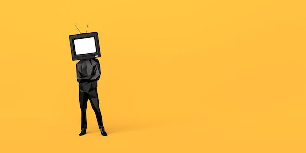 Homem com uma televisão velha em vez de uma cabeça controle e manipulação da mídia de massa copie o espaço