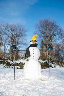 Homem da neve com óculos de esqui de perto