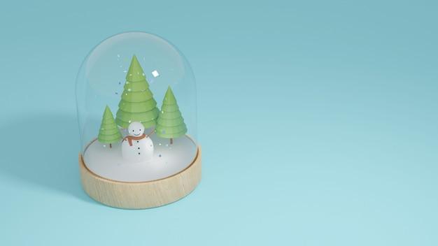 Homem da neve e árvore verde no globo de vidro de neve e placa de madeira do círculo