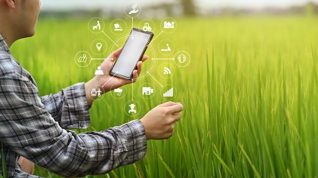 Homem de agricultor de tecnologia agricultura usando dados de análise de smartphone e ícone visual.