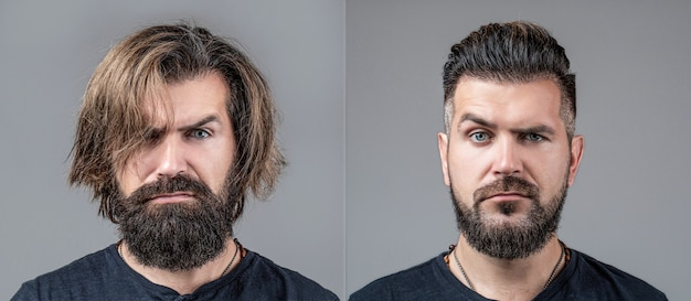 Homem de colagem antes e depois de visitar a barbearia, corte de cabelo diferente, bigode, barba. beleza masculina, comparação. barbear, pentear. barba, depile-se antes, depois. cabelo com barba longa, cabeleireiro estilista