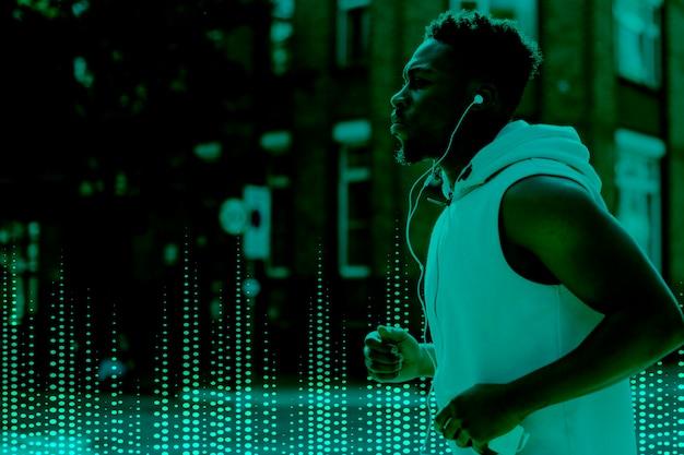 Homem de inovação de gadget musical correndo com mídia remixada de tecnologia de entretenimento de fones de ouvido