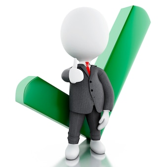 Homem de negócios 3d branco com marca de verificação. conceito de sucesso