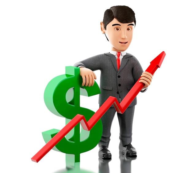 Homem de negócios 3d com um sinal de dólar e um gráfico do crescimento.