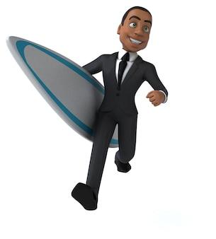 Homem de negócios 3d divertido surfando