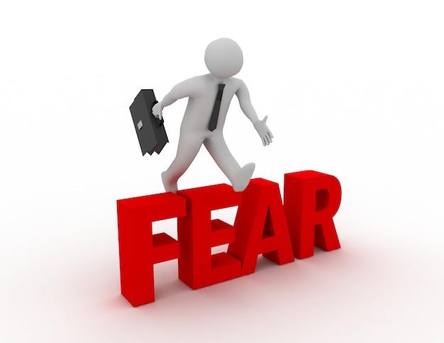 Homem de negócios 3d pulando sobre a palavra 'medo' com fundo branco