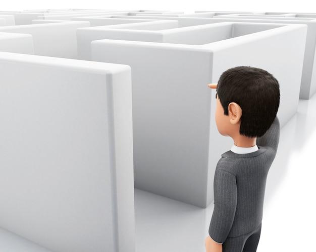 Homem de negócios 3d que está na entrada de um labirinto.
