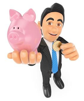 Homem de negócios 3d que põe uma moeda em um mealheiro. conceito de poupança