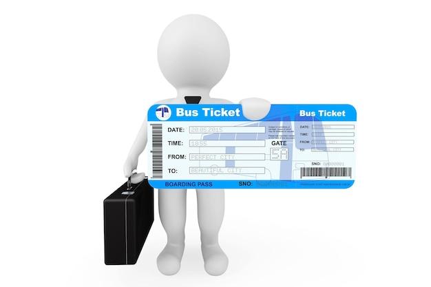 Homem de negócios 3d segurando o bilhete do cartão de embarque de ônibus em um fundo branco