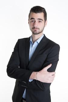 Homem de negócios amigável com confiabilidade isolado no branco
