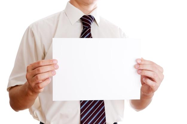 Homem de negócios com papel no terno