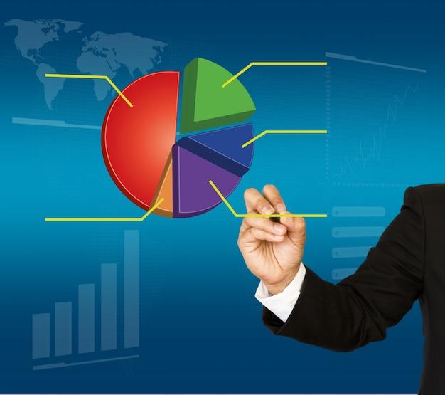 Homem de negócios com um gráfico colorido