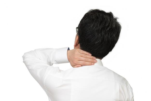 Homem de negócios de dor no pescoço
