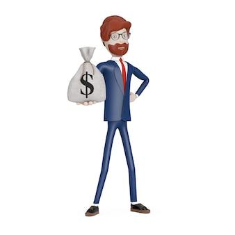 Homem de negócios de personagem de desenho animado com saco de dinheiro de linho de lona rústica amarrada ou saco de dinheiro com cifrão na mão em um fundo branco. renderização 3d