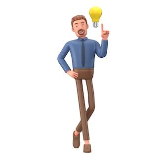 Homem de negócios dos desenhos animados com bulbo amarelo 3d rendem a ilustração.