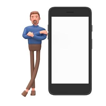 Homem de negócios dos desenhos animados ficar com smartphone móvel.