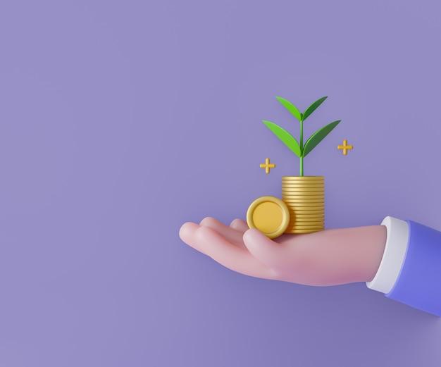 Homem de negócios dos desenhos animados mão segure pilha moeda com planta de crescimento em fundo roxo. ilustração 3d render