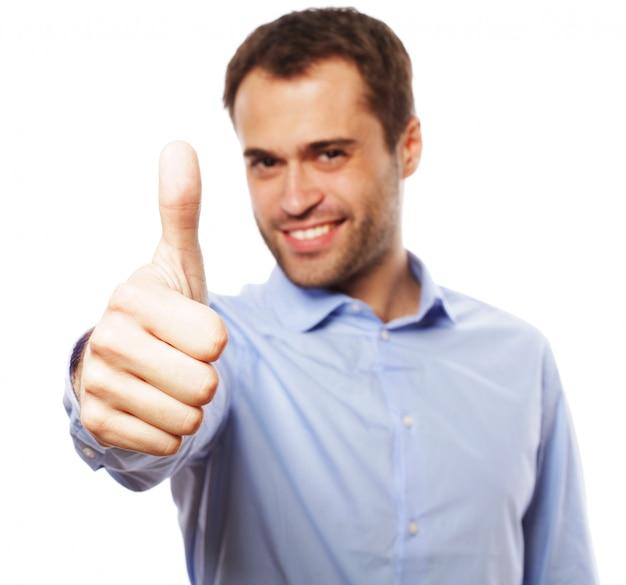 Homem de negócios homem indo polegares para cima