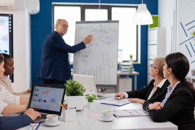 Homem de negócios idoso fazendo apresentação para uma equipe multiétnica de colegas usando flip chart