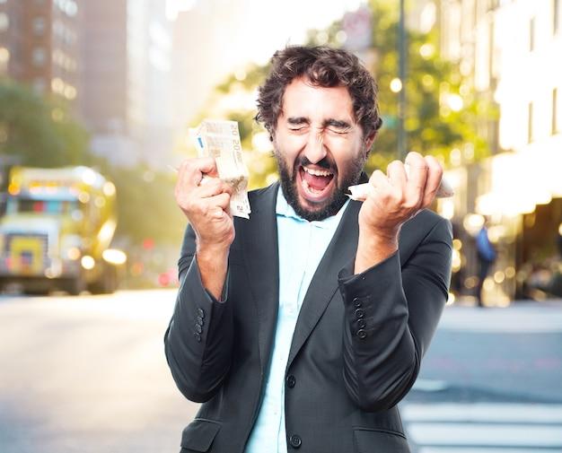 Homem de negócios louco expressão feliz