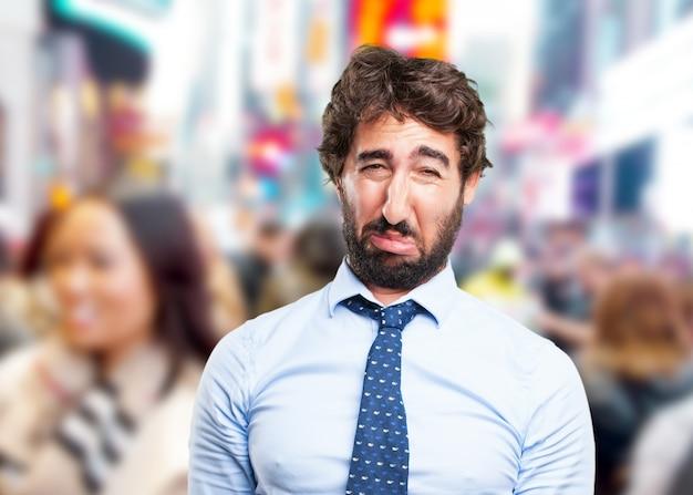 Homem de negócios louco expressão triste