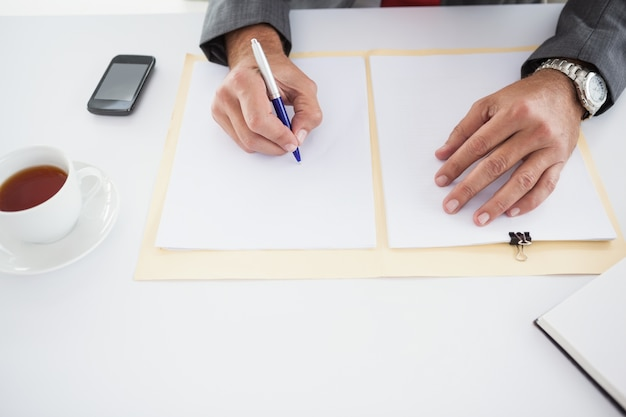 Homem de negócios maduro que escreve no documento