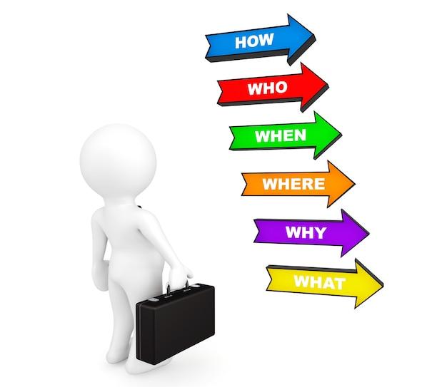 Homem de negócios pessoa 3d com várias setas coloridas com várias perguntas em um fundo branco