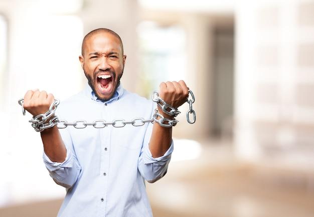 Homem de negócios preto expressão de raiva