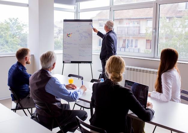 Homem de negócios sênior dando apresentação aos colegas no escritório