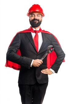 Homem de negócios super-herói trabalhador