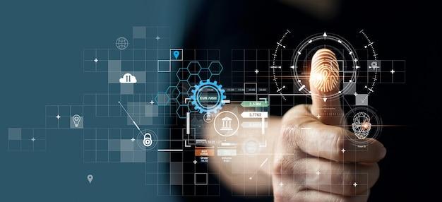 Homem de negócios usando a identificação de impressão digital para acessar dados financeiros pessoais ekyc biometrics