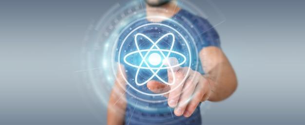 Homem de negócios usando estrutura de molécula moderna, renderização 3d