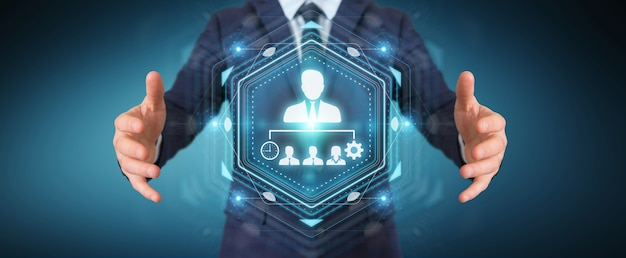 Homem de negócios usando gráfico de liderança empresarial, renderização 3d