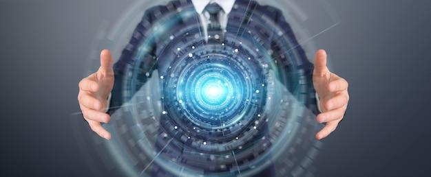 Homem de negócios usando interface de conexão de rede digital, renderização 3d