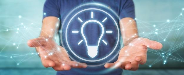 Homem de negócios usando interface de ideia de lâmpada, renderização 3d
