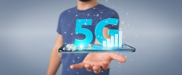 Homem de negócios usando rede 5g com telefone celular, renderização 3d