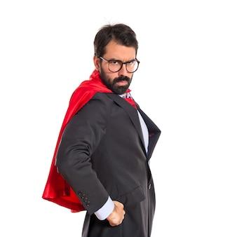 Homem de negócios vestido como super-herói