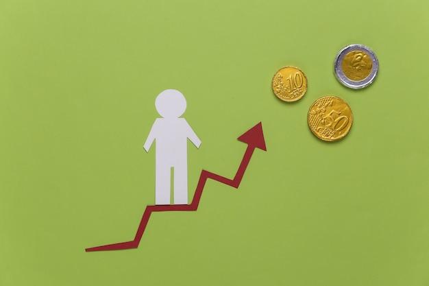 Homem de papel na seta de crescimento, moedas. verde. símbolo de sucesso financeiro e social, escada para o progresso. escada de carreira.