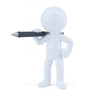 Homem de pé com uma caneta. isolado. contém o traçado de recorte.