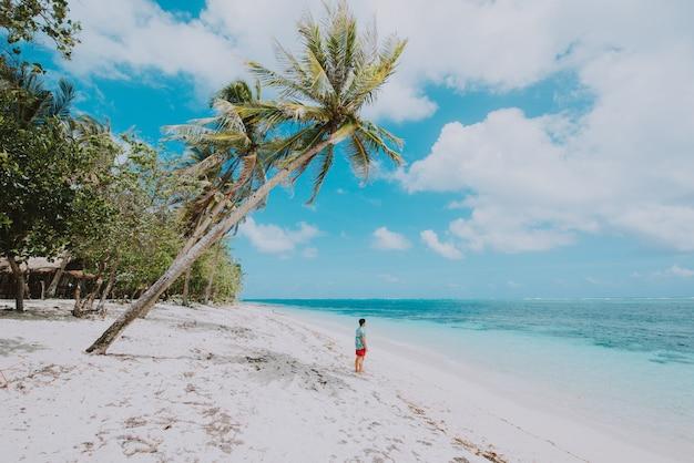 Homem de pé na praia e apreciando o lugar tropical com vista. cores do mar do caribe e palmeiras ao fundo. conceito sobre viagens e estilo de vida