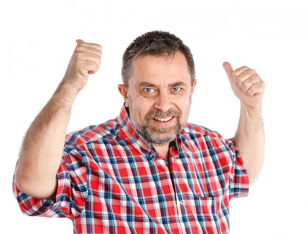 Homem de sucesso mostra sinal de ok