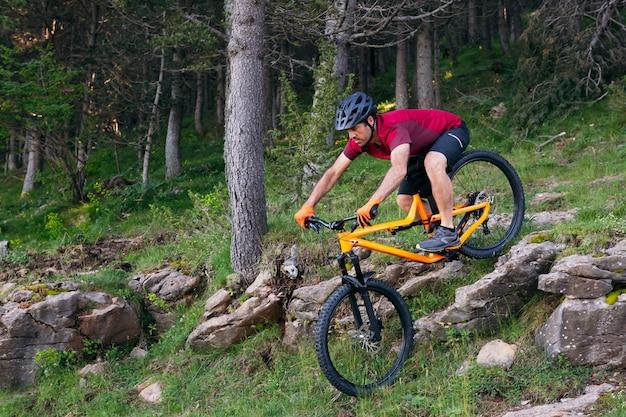 Homem descendo pedras em uma floresta em mountain bike