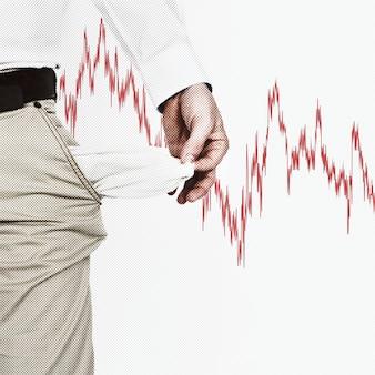 Homem desempregado com os bolsos vazios devido ao impacto econômico do coronavírus