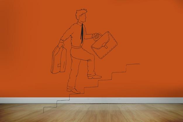 Homem desenhado na parede laranja