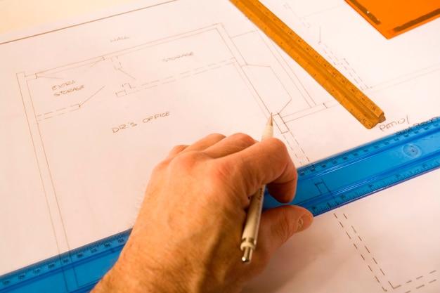 Homem, desenho, ligado, blueprint